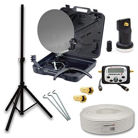 PremiumX HD Camping SAT Anlage im Transport Koffer Schüssel mit Digital Single LNB + 10m Koax TV Kabel mit F-Stecker + Dreibe