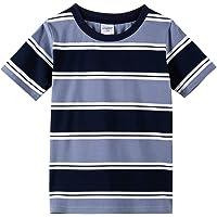 Spring&Gege Camiseta de algodón manga corta a rayas cuello redondo para niños