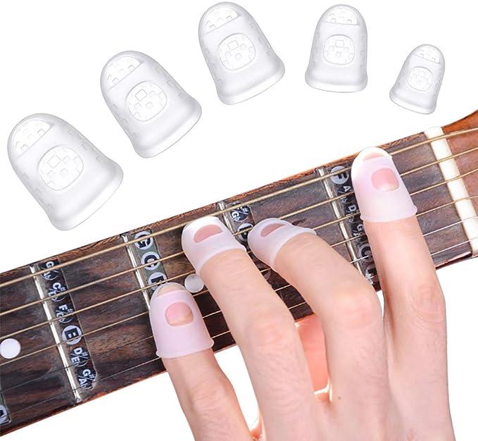 4 pcs Silicone Guitare Doigt Protecteurs R/éutilisable Anti-slip Protecteurs De Guitare Accessoires Pour Ukul/él/é Guitare Joueurs