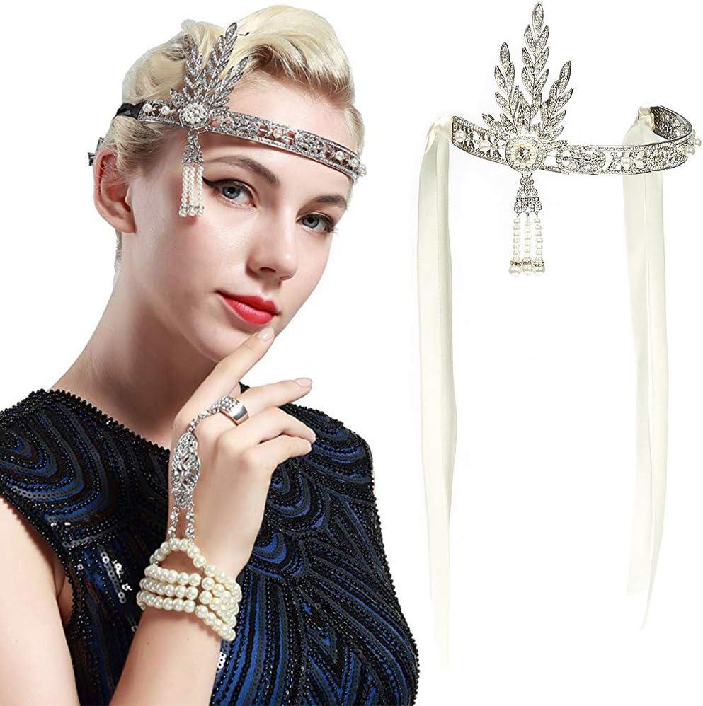 BESTZY Fascia Anni 20 Gatsby Flapper Headband Fascia in Stile Vintage con Motivi a Foglie Strass Nuziale di Cristallo Fascia Capelli per Spose e Feste di Matrimonio