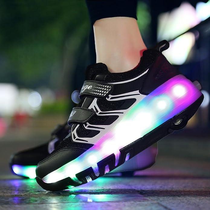 HXD Kids LED Shoes Adjustable Skates and Rollerblades Inline Skates 12 M US Little Kid, Blue