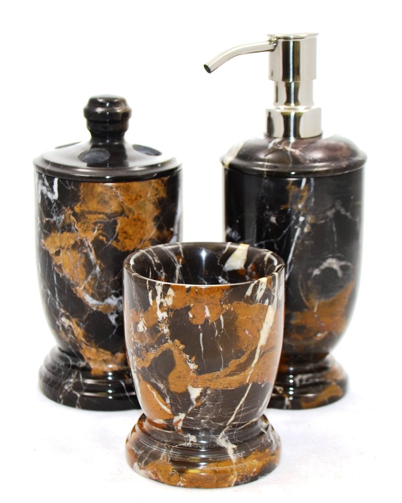Nature Home Decor 300MA3 Atlantic Collection Bathroom Accessory Set of 3-Piece in Michelangelo Marble