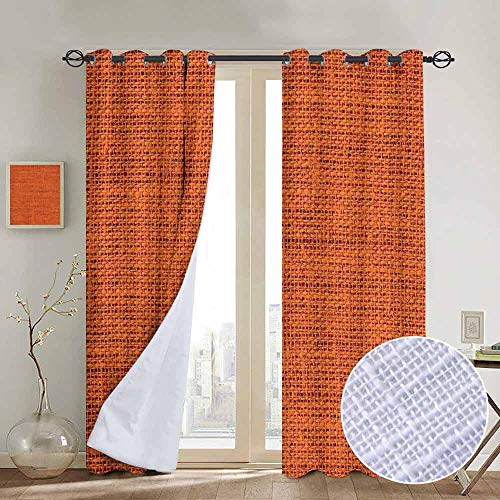 NUOMANAN Bedroom Curtains 2 Panel Sets Burnt Orange,Rough Texture Close up Thick Fabric Image Print Country Living Rustic Style,Burnt,Complete Darkness, Noise Reducing Curtain 54