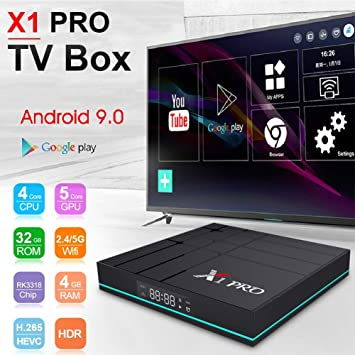 Android 9.0 TV Box X1 PRO - Decodificador Smart TV Lector de red inteligente RK3318 Quad Core H.265 4K Android 9.0 4 GB + 64 GB WiFi de doble banda 5 GHz