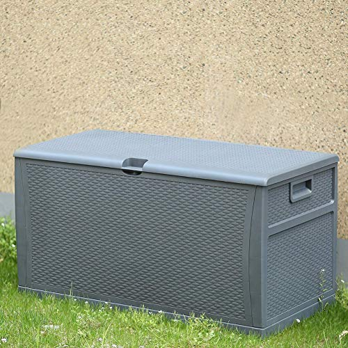 INTERGREAT Patio Deck Box Outdoors Waterproof Storage Backyard Furniture Rattan Container Cabinet 120 Gallon Dark Grey