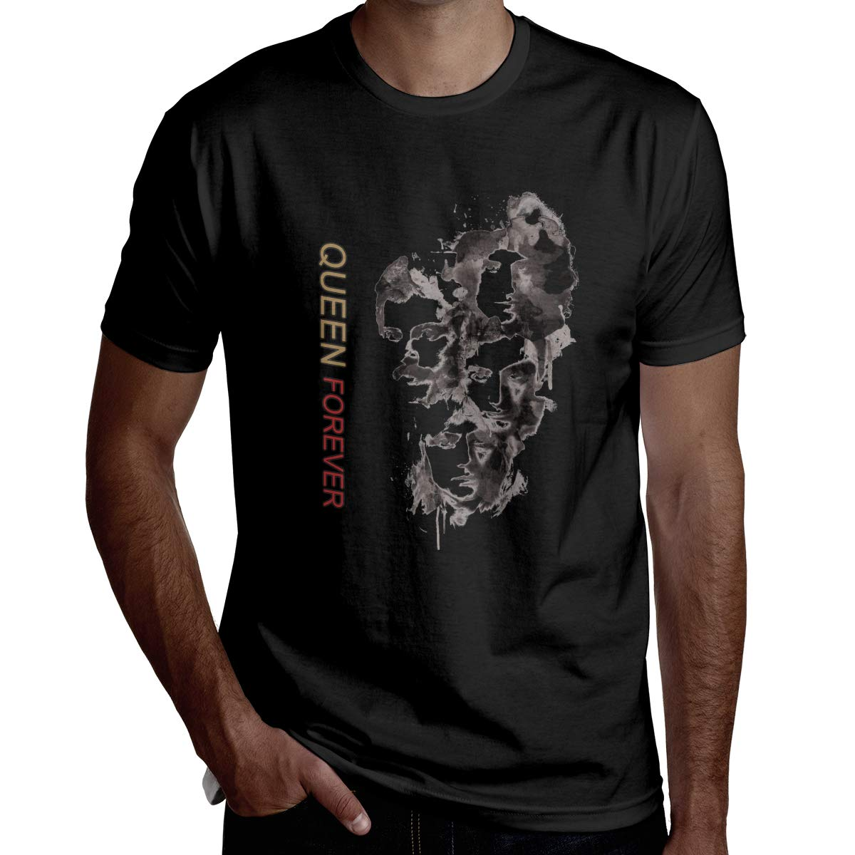 The Ultimate Best of Queen Mens Short Sleeve T-Shirt Casual Classic Cotton T-Shirt with Round Collar Black
