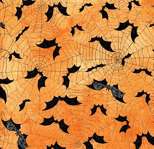 Halloween Black Bats on Orange Cotton Fat Quarter - 18' Blender