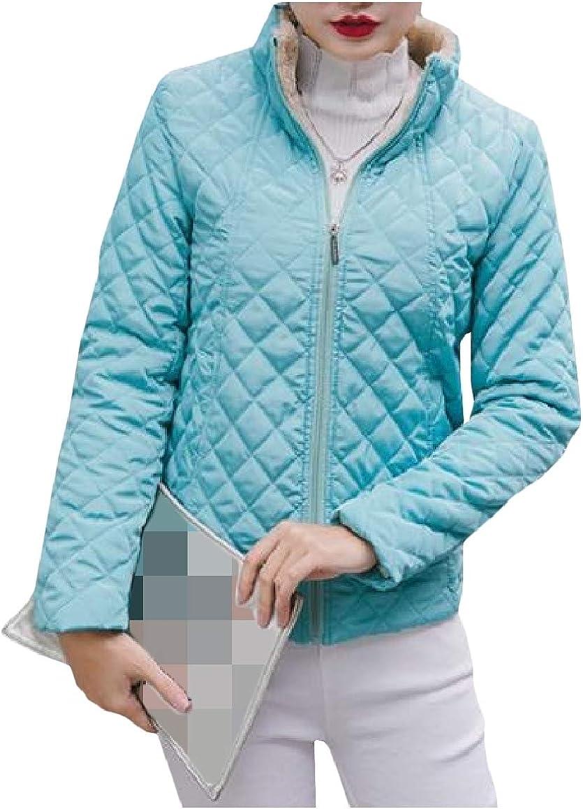 RomantcWomen Zip-up Plus Velvet Short Style Quilted Pea Coat Jacket Outwear