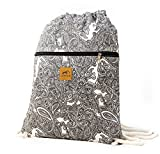 Canvas Drawstring Backpack – Eco-Friendly Day Bag, Gym Sack Pack, Cinch Bag with Thick, Soft Cotton Ropes by Lemur Bags (Paisley)