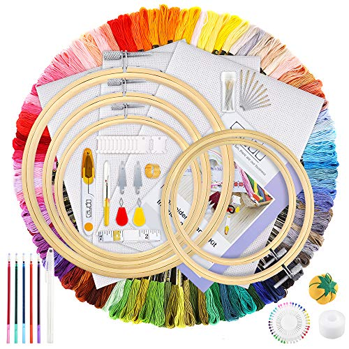 Caydo Hand Embroidery Kit with Instructions, 100 Colors Threads, 40 Sewing Pins, 3 Pieces Aida Cloth, Embroidery Hoops…