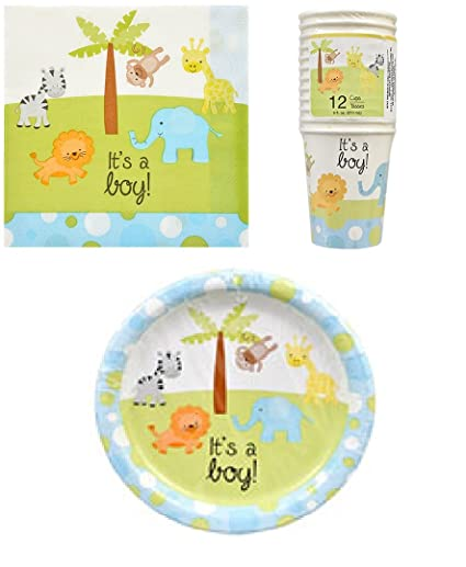 Amazoncom Baby Shower Paper Plates Cups And Napkins Its A Boy