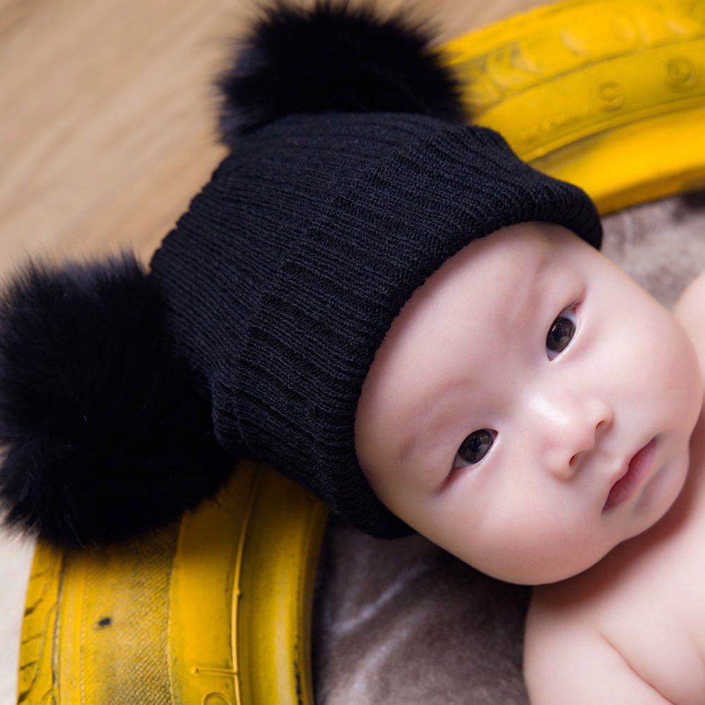 75e1a1b25e9 Amazon.com  Tinksky Winter Knit Beanie Bobble Hat Cap with Double Pom Pom  Ears Christmas Gift for Baby Boy Girl (Black)  Clothing