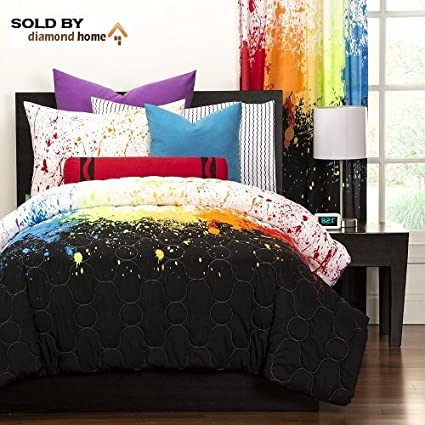 Crayola Crayon Paint Splash 3 Piece Comforter Set Queen Kids Teens Abstract Graphic