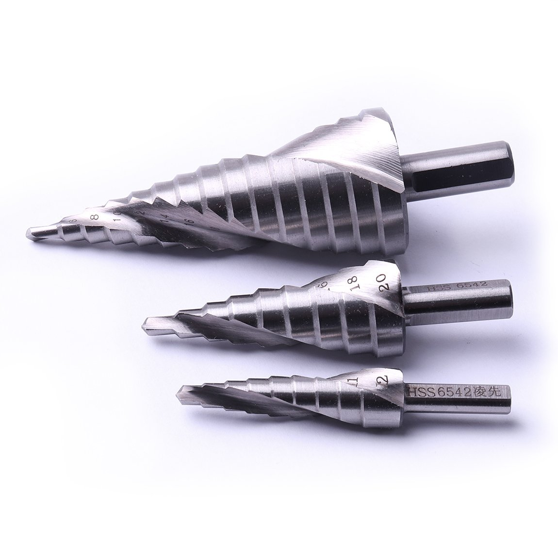 Atoplee HSS6542 Spiral Groove Step Drill Bit, 3 Pics, for Stainless Steel Cutting