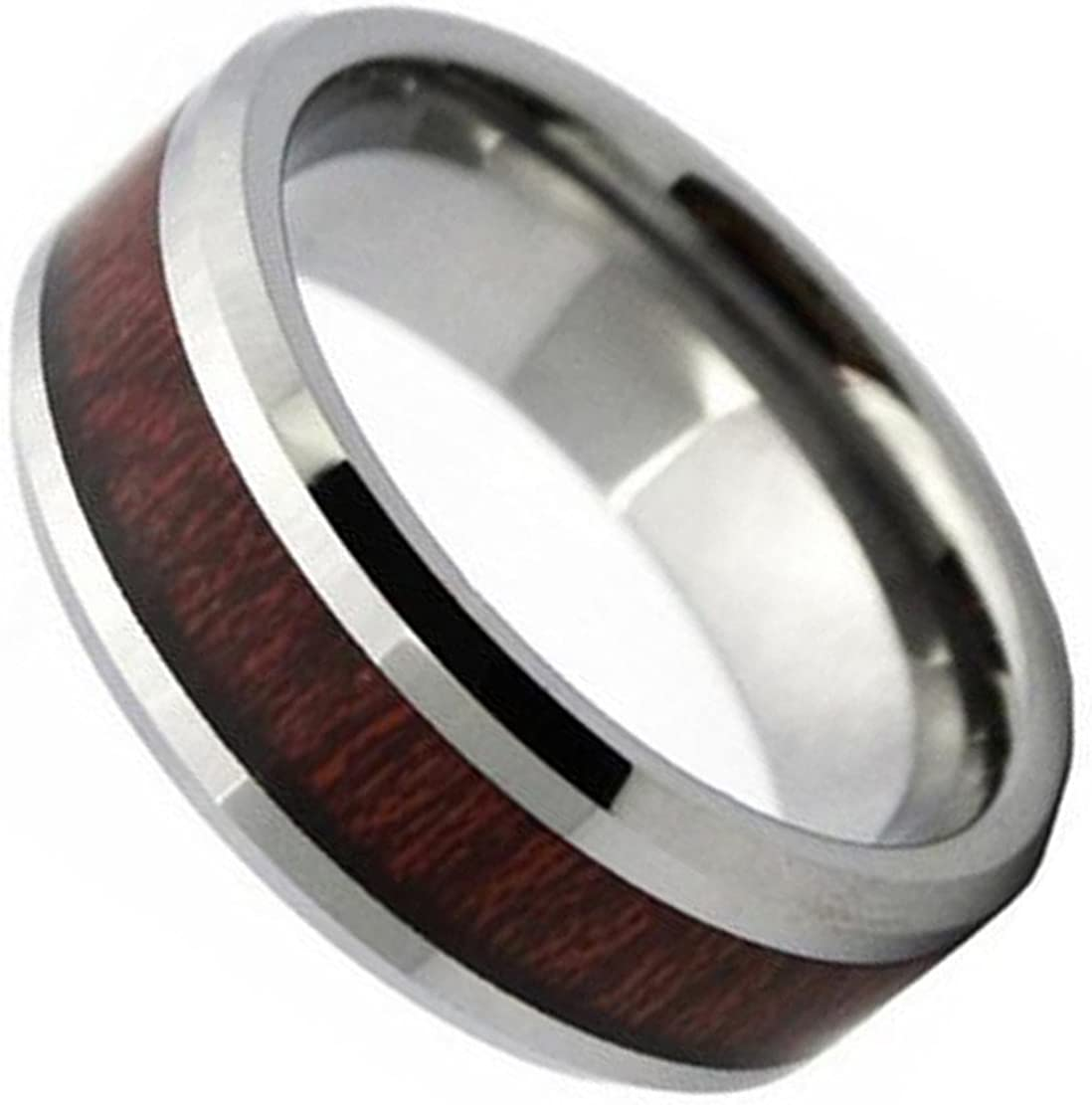 MYVIYSENY Support Customization Tungsten Steel Ring Wood Inlaid High Polished Retro Wood Jewelry 8MM