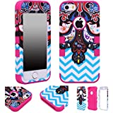 Majesticase® iPhone 5/5S Case - 3 Layers Ethnic Paisley & Chevron Waves Full Body Hybrid Armor 360° Shockproof Protection Cover + FREE Stylus in Pink