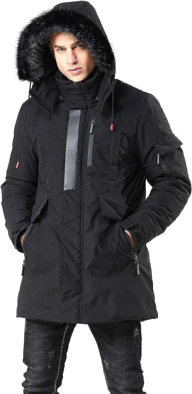 WEEN CHARM Men's Warm Parka Jacket Anorak Jacket Winter Coat with Detachable Hood Faux-Fur Trim: Clothing