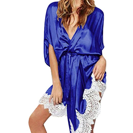 Lencería Erotica Mujer, ❤ Modaworld Lencería Sexy Mujeres Vestido de Encaje de Seda Babydoll camisón Ropa de Dormir Kimono Batas de baño Vestidos de ...