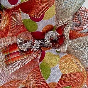 New! Full! Premium Handmade Harvest Deco Mesh Ribbon Wreath, Large 24 Inches 3
