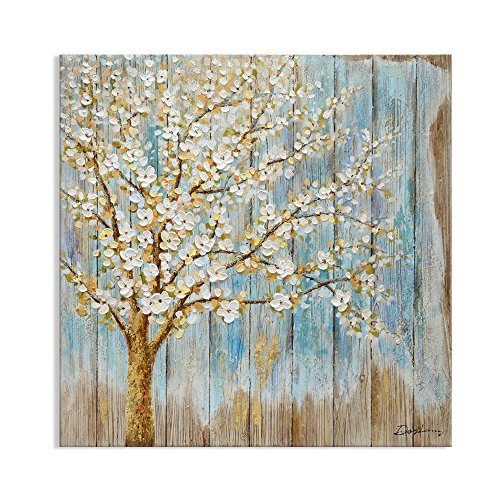 Kas Home Art Modern Abstract Original Design Blooming White Pear Tree Canvas Prints Framed Wall Art Wall Paintings for Living Room Wall Decor (32x32 Inch, B Framed)