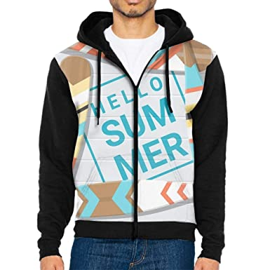 d84b5419c576 Amazon.com  Hello Summer Painted Canoe Paddle Men Cute Fashion Solid Long  Sleeve Casual Hooded Sweatshirt Zipper Top Blouse  Clothing