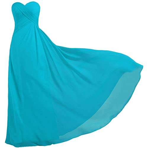 ANTS Womens Strapless Long Bridesmaid Dresses Chiffon Wedding Prom Gown
