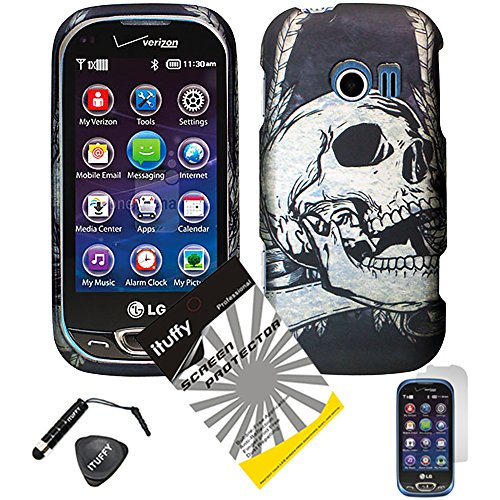 4 items Combo: ITUFFY (TM) LCD Screen Protector Film + Mini Stylus Pen + Case Opener + Black Silver Viking Skull Design Rubberized Snap on Hard Shell Cover Faceplate Skin Phone Case for LG Extravert 2 VN280 (Champion Skull)