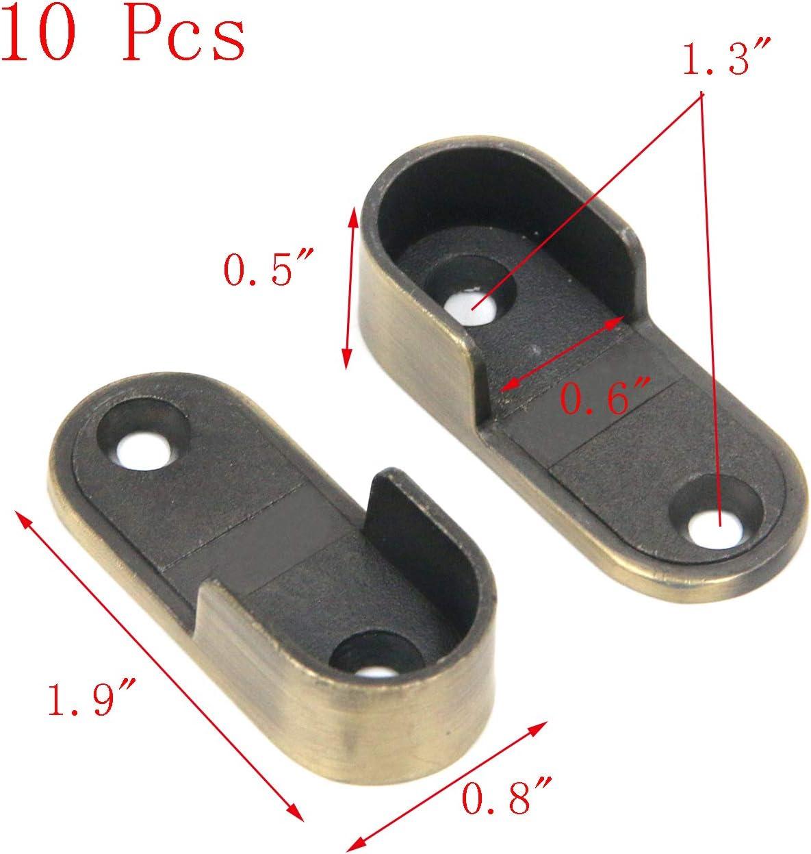 Geesatis 10 Pcs Bronze Curtain Rod Support Bracket Mount Shelf Flange Socket Holders with Mounting Screws 1.9 x 0.5