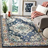 Safavieh Monaco Collection MNC243N Vintage Bohemian Navy and Light Blue Distressed Area Rug (6'7' x 9'2')