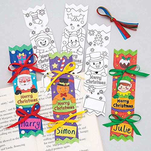 Baker Ross Christmas Cracker Colour - in Bookmarks (Pack of 12) for Kids Christmas Crafts and Decorations