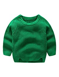 Mud Kingdom Little Boys' Solid Color Knitted Crewneck Sweater Pullover