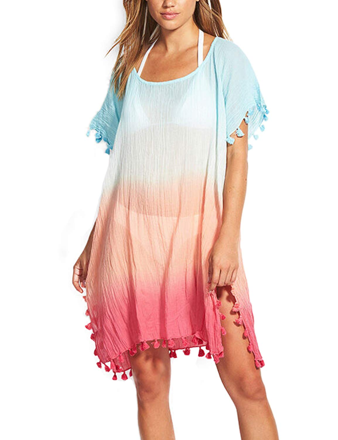 Women's Round Neck Top Chiffon Pullovers Sexy Short Sleeve Split Tie Dye Cover Ups