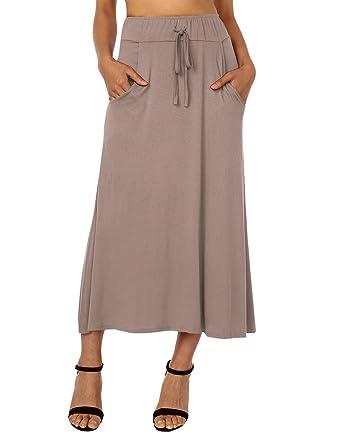 2c9dae4d71f3 DJT FASHION Women's High Waist Flared Skirt Pleated Midi Skirt with Pocket  Small Coffee