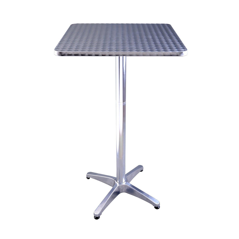 HOMCOM 24'' Stainless Steel Top Adjustable Height Bar/Bistro Table