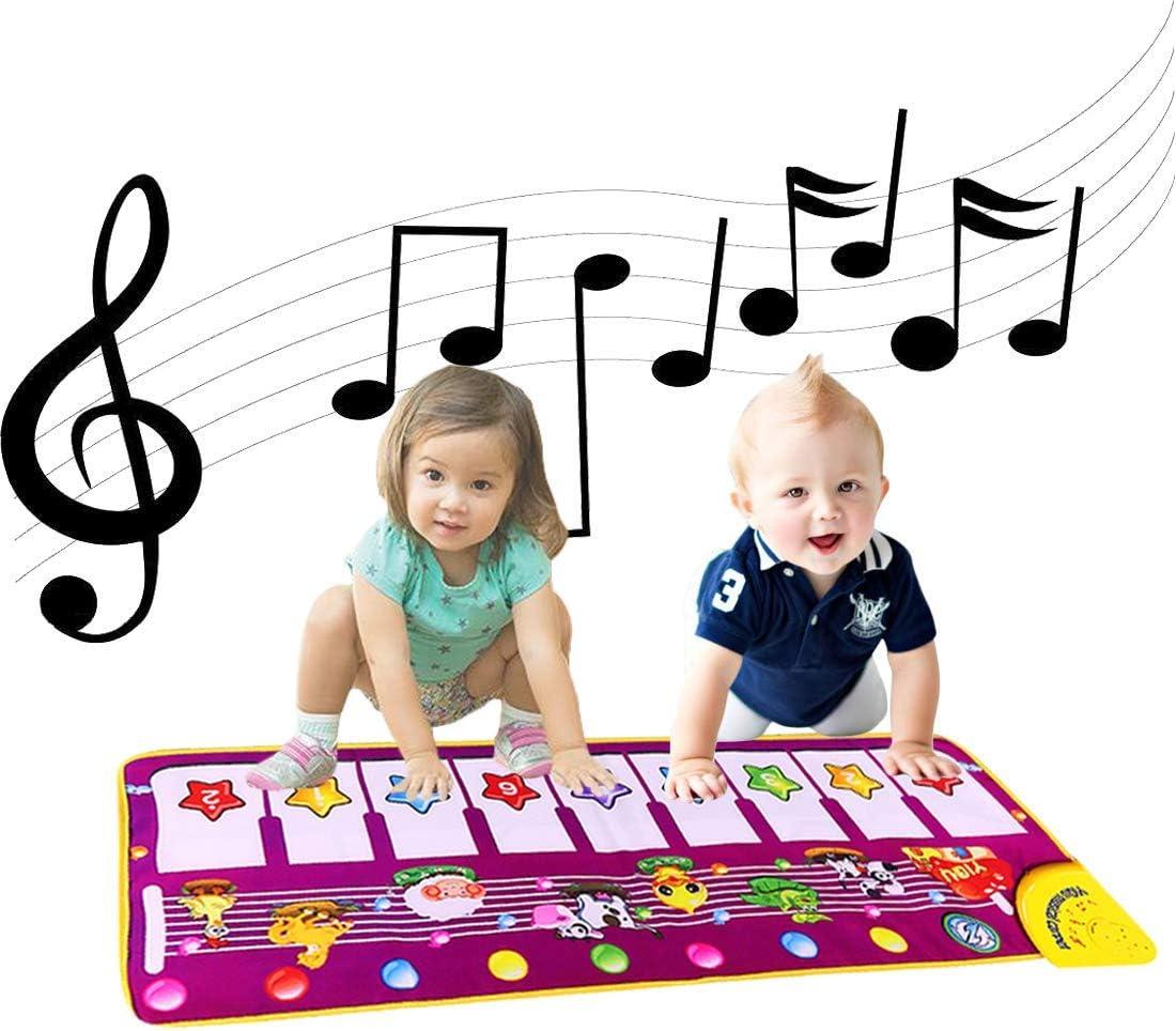 ALITREND Alfombrillas Musicales para Piano para Bebés, Alfombrilla de Baile con Música Electrónica Alfombra de Juego con Teclado de Animales Manta de Alfombra para Niños Niñas Juguetes Educativos