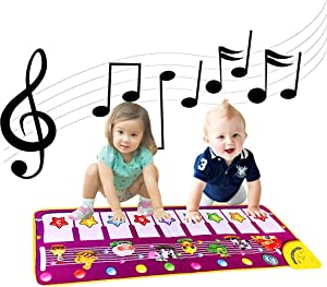 ALITREND Baby Piano Musical Mats, Electronic Music Dance Mat Animal Keyboard Play Mat Carpet Blanket for Kids, Boys Girls Baby Educational Toys