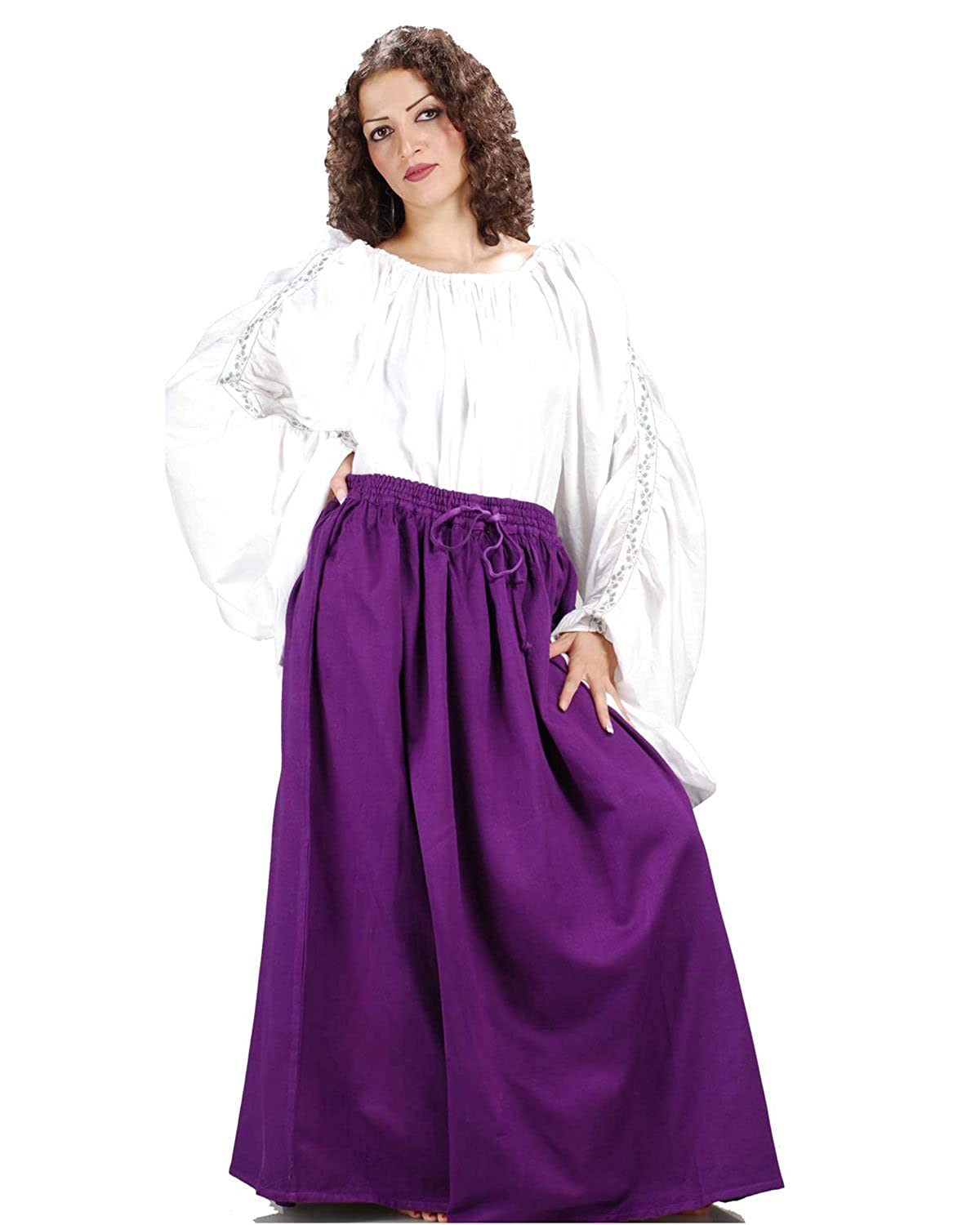 Women's Classic Renaissance Medieval Purple Cotton Wench Skirt by ThePirateDressing - DeluxeAdultCostumes.com