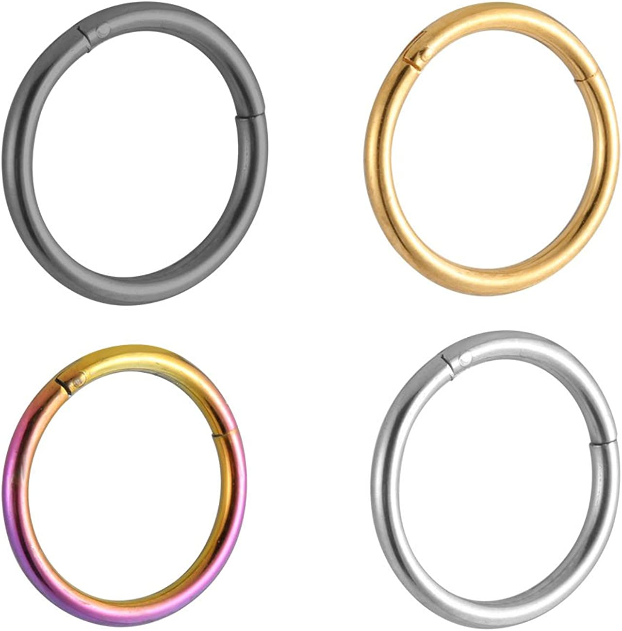 Amazon Com Yougking 16g 4 Pcs Stainless Steel Septum Piercing Nose Hoop Clicker Ring Nostril Lip And Ear Piercings Length 3 8 10mm Jewelry