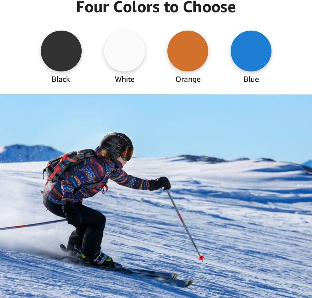 MOON Ski Helmets Snow Helmet with Detachable Ski Goggles Lens, Active Ventilation System Warm Fluff Earpads Chin Cushion 100 UV400