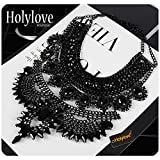 Holylove Black Statement Necklaces Pendant Collier Collar Choker Big Vintage Maxi Chunky Necklace Jewelry-HLN54 Black