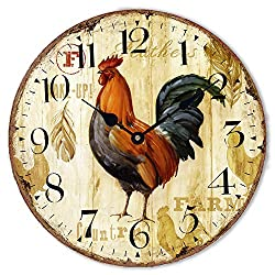 Wood Clock Numerals Large Decorative 12Chicken Rooster Quartz Movement Silent Non-Ticking Wooden Wall Clocks for Home Bedroom Office Cafe