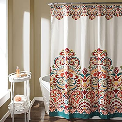 "Lush Decor Clara Shower Curtain - Fabric Colorful Boho Paisley Damask Print Design 72"" x 72"" Turquoise and Tangerine - Soft, 100% polyester fabric shower curtain with a stunning and unique design to enhance your space. Bold, eye-catching colors with a paisley damask pattern for a mix of modern and boho style shower curtain. Lush Décor Clara shower curtain is the ideal piece for your rustic, yet chic, bohemian bathroom decor. - shower-curtains, bathroom-linens, bathroom - 61RHx7SZIKL. SS400  -"