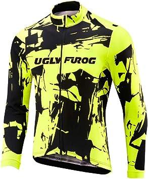 Uglyfrog Maillot Ciclismo Invierno Hombre Bicicleta Conjunto de Jersey de Manga Corta/Larga Top y Culotte Pantalones Acolchado 3D Térmico Respirable Cómodo TZD01: Amazon.es: Deportes y aire libre