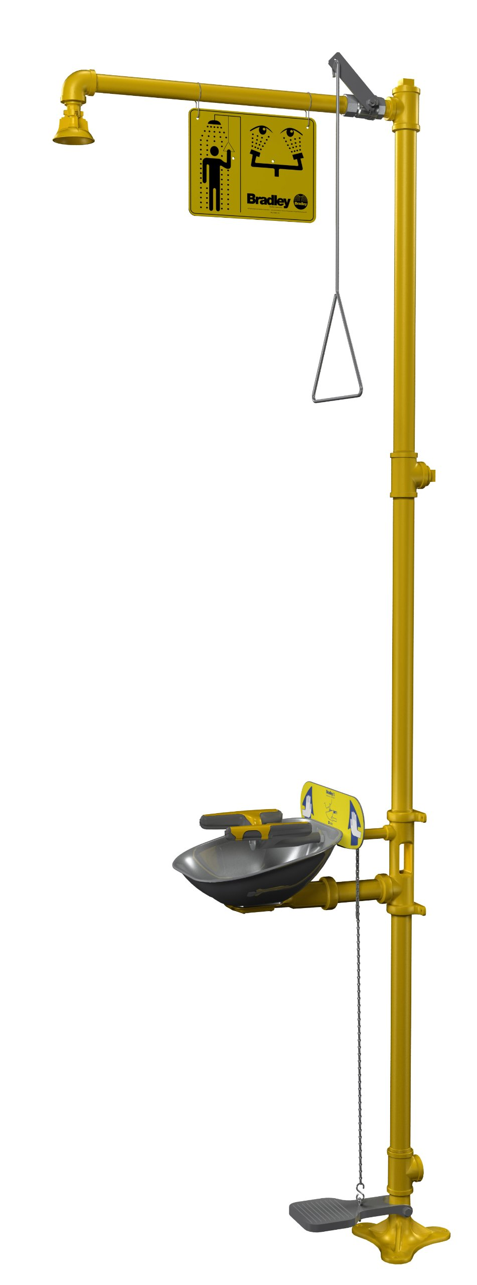 Bradley S19314AC Galvanized Steel 3 Spray Head Halo Combination Drench Showers and Eye/Face Wash Unit with Hand/Foot Operated Eyewash, 20 GPM, 18-1/2'' Width x 94-1/8'' Height x 26-13/16'' Depth, Yellow