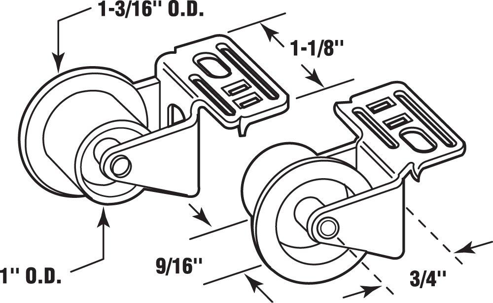 Plastic Wheel on Steel Bracket Outside Diameter Prime-Line R 7147 Drawer Guide Roller Assembly 1 in