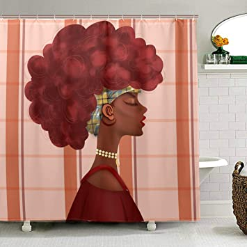 African Women Star Sky Background Fabric Shower Curtain Liner Bath Accessory Set