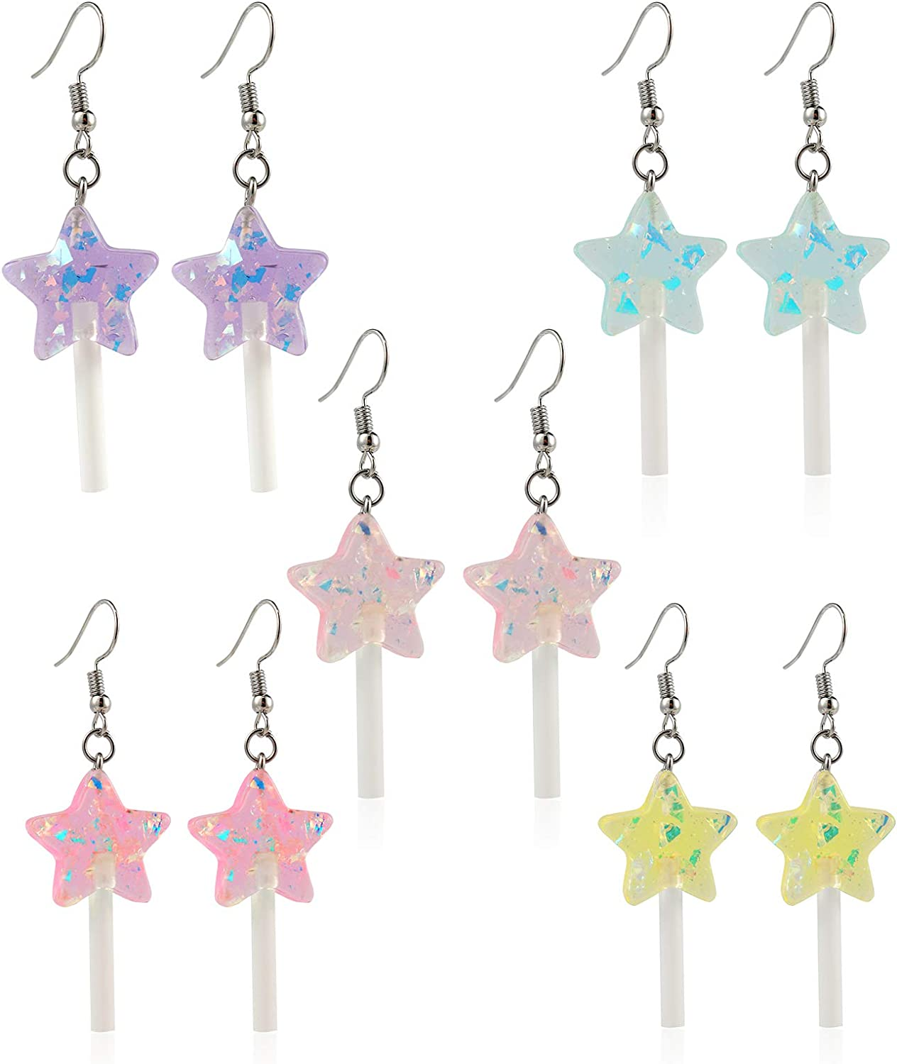 5 Pairs Cute Resin Star-shaped Lollipop Drop Earring Handmade Candy Color Simulation Food Dangle Earring Funny Cute Cartoon Friendship Exaggerated Trend Style Jewelry for Women Girl