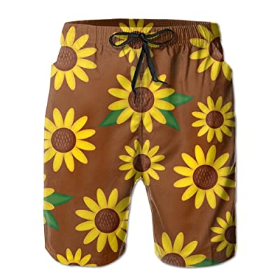 Men's Quick Dry Swim Trunks Sunflower Board Shorts With Pockets