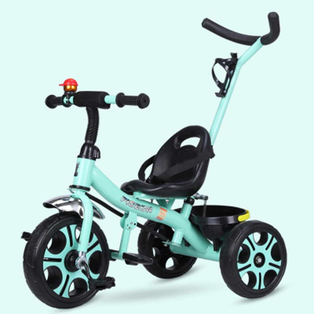 HAIZHEN マウンテンバイク 子供の三輪車1-6歳の軽量自転車非膨張式防爆ショックを吸収する泡ホイールバスケット付きベビーベビーカー 新生児 B07DL9D56N緑