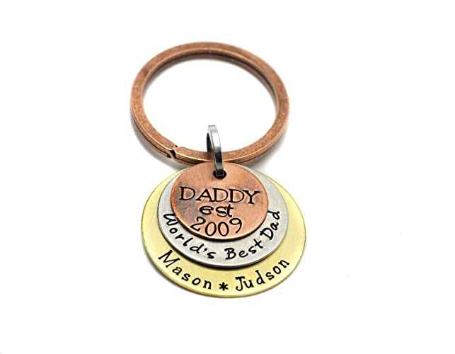 Amazon Personalized Hand Stamped Keychain For Dad Worlds